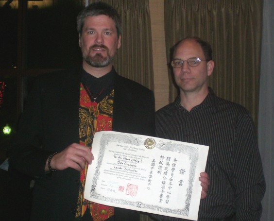 Sifu Dale getting his certification from Master Eric Sbarge